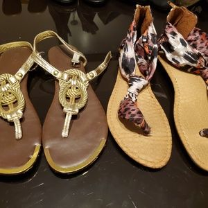 """Mossimo Supply Co. Shoes - Patterned Cloth and Gold """"rope"""" sandals"""